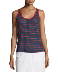 Frame Denim Le Nautical Striped Henley Tank Red Stripe Size M Navy Red Stripe