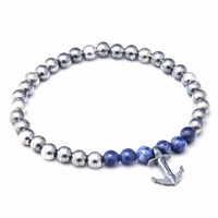 Anchor And Crew Blue Sodalite Keel Stone Silver Bracelet