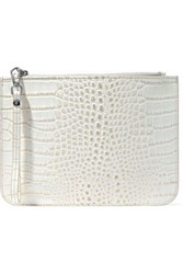 Iris And Ink Ned Croc Effect Leather Clutch Ecru