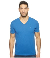 John Varvatos Slub Short Sleeve Peace V Neck With Peace Sign Chest Embroidery K3037t1b Blue Men's Clothing