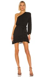 Krisa One Shoulder Ruffle Dress In Black.