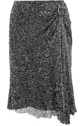 Dion Lee Draped Embellished Mesh Skirt Silver