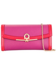 Salvatore Ferragamo Gancio Buckle Clutch Red