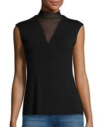 Bailey 44 Mock Turtleneck Sleeveless Jersey Top Black