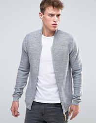 Esprit Knitted Bomber Jacket Light Grey