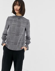 Warehouse Gathered Neck Blouse In Check Ivory Check Multi
