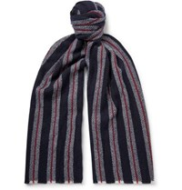 Johnstons Of Elgin Striped Cashmere Scarf Midnight Blue