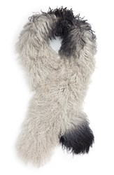 Toria Rose Women's Genuine Mongolian Lamb Fur Scarf Ombre Grey Black