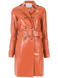 Spacenk Nk Leather Trench Coat Brown