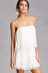 Forever 21 Crochet Lace Flounce Dress White
