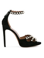 Alaia Studded Ankle Strap Sandals Black