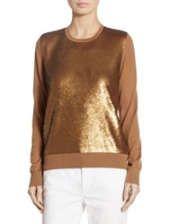 Ralph Lauren Sequined Cashmere Sweater Light Tobacco