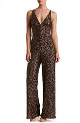 Dress The Population Women's Charlie Sequin Jumpsuit Chocolate
