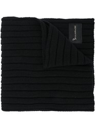 Billionaire Ribbed Knit Scarf Cashmere Wool Black