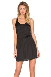 Michael Stars Zoey Satin Double Scoop Neck Dress Black
