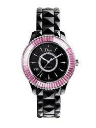 Christian Dior Dior Viii Diamond Pink Sapphire Diamond And Black Ceramic Bracelet Watch Black Pink