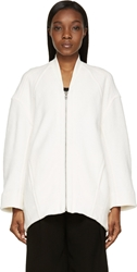 Helmut Lang Cream Cotton Effuse Zip Up Cardigan