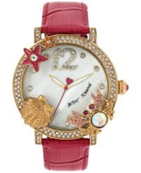 Betsey Johnson Women's Pink Leather Strap Watch 44Mm Bj00446 04 Gold