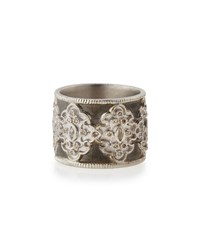 Armenta New World Midnight Wide Scroll Band With Diamonds Size 7 Size 7.5 Silver