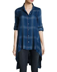 Max Studio Plaid High Low Tunic Blue Pattern