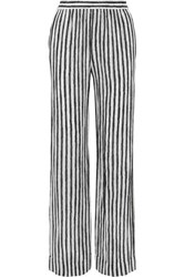 Michael Kors Collection Striped Silk Crepe Wide Leg Pants White