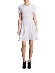 Yigal Azrouel Cable Knit Wool Fit And Flare Dress Ivory