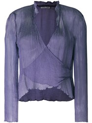 Giorgio Armani Vintage Wrapped Front Sheer Blouse Pink And Purple