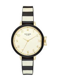 Kate Spade Black And Cream Stripe Silicone Park Row Watch White Gold