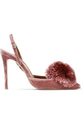 Aquazzura Powder Puff Pompom Embellished Velvet Pumps Antique Rose