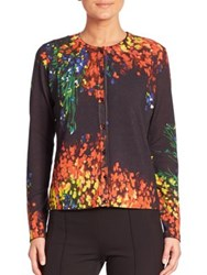 Escada Floral Print Wool And Silk Cardigan Fantasy Black