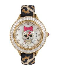 Betsey Johnson Goldtone Pave Skull Motif And Leopard Leather Strap Watch Brown