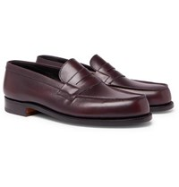 J.M. Weston 180 The Moccasin Burnished Leather Penny Loafers Burgundy