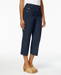 Style And Co Grommet Detail Capri Pants Only At Macy's Industrial Blue
