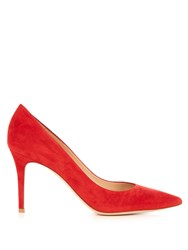 Gianvito Rossi Point Toe Suede Pumps Red