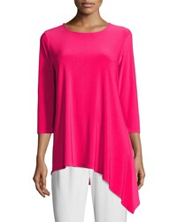 Caroline Rose 3 4 Sleeve Side Fall Top Pink Punch
