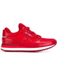 Dolce And Gabbana Lace Panel Sneakers Red