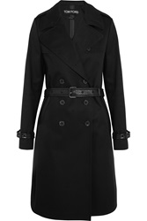 Tom Ford Leather Trimmed Cotton Gabardine Trench Coat