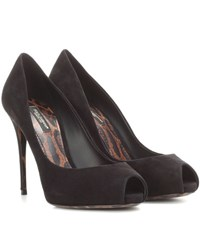 Dolce And Gabbana Peep Toe Suede Pumps Black