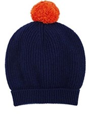 Barneys New York Men's Pom Pom Embellished Wool Cashmere Beanie Navy