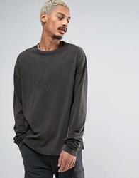 Asos Oversized Long Sleeve T Shirt With Acid Wash And Super Long Sleeves Black
