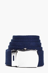 Boohoo Belt With Metal Buckle Navy
