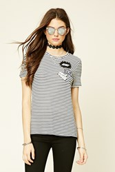 Forever 21 Patch Front Stripe Longline Tee