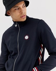 Pretty Green Ribbed Side Stripe Track Top In Navy