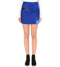 Sandro Fitted Velvet Mini Skirt Electric Blue