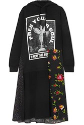 Mcq By Alexander Mcqueen Hooded Printed Cotton Jersey And Crepe Midi Dress Black