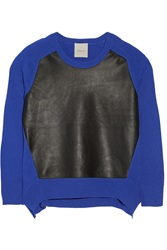 Mason By Michelle Mason Leather Paneled Wool And Cashmere Blend Sweater