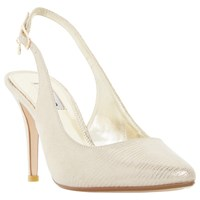 Dune Cathy Slingback High Heel Court Shoes Gold Reptile