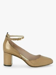 Boden Yasmin Leather Mid Heel Court Shoes Bronze