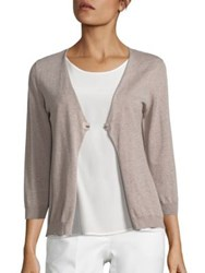 Peserico Cotton And Silk Cardigan Dark Taupe