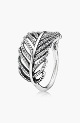 Pandora Design 'Light As A Feather' Cocktail Ring Silver Clear